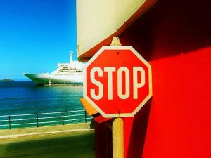 Stop sign on ship