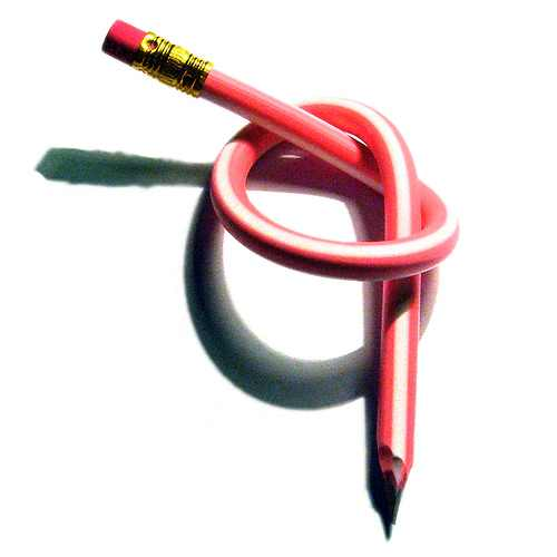 knotted red pencil