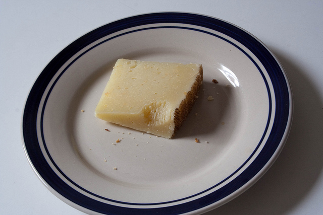 plate with cheese slice