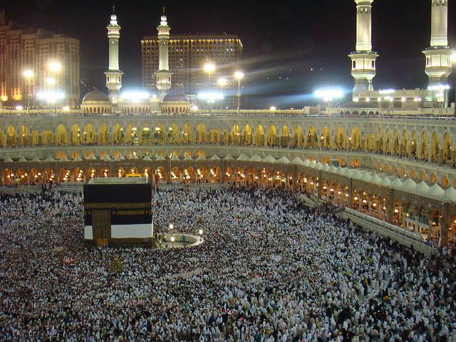 Hajj Pilgrims at Ka'abah night time