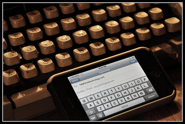 typewriter & tablet