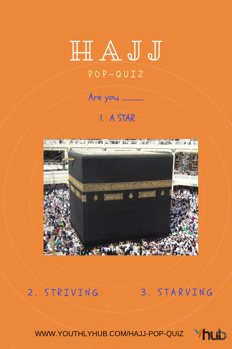 Poster for Hajj pop quiz post on YouthlyHub.com