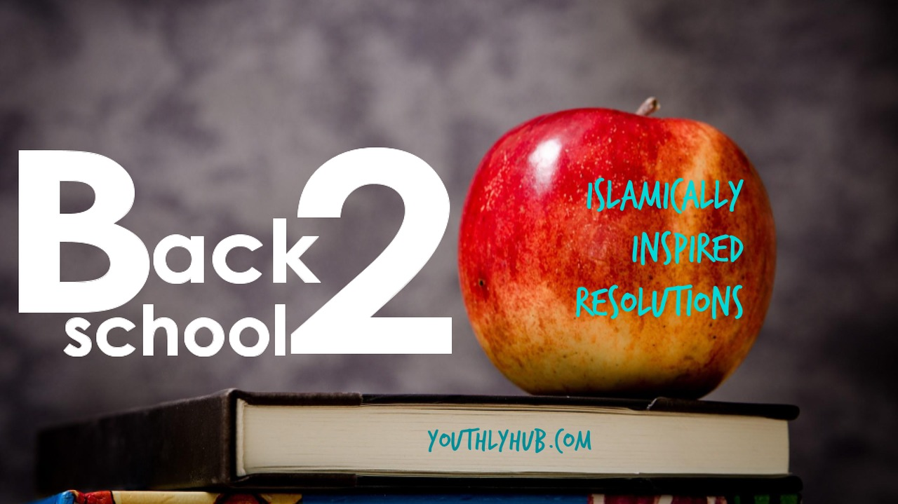 Back to school poster with book stack and apple